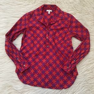 J. Crew classic popover blouse top geo print red 8